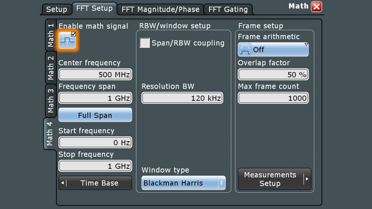 与频谱分析仪类似的界面使得频域设置异常简单。