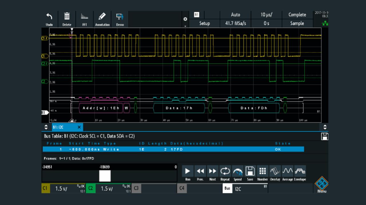 通过 R&S®RTM3000 上的模拟波形解码 I²C 信号。