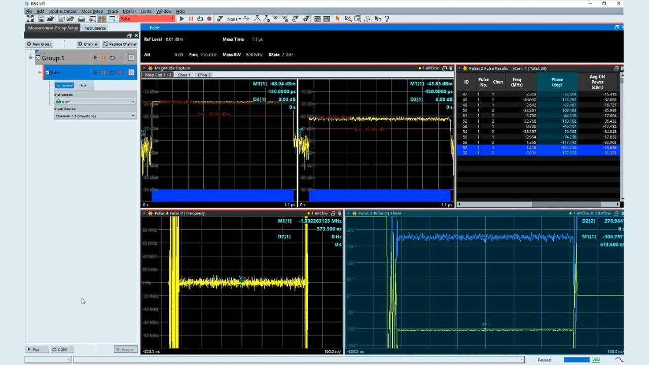 图 4:R&S®VSE-K6A 多通道脉冲分析选件的主要分析视图。相位差可以使用标记(右下角窗口)或结果表格(右上角窗口)中的数值加以确定。
