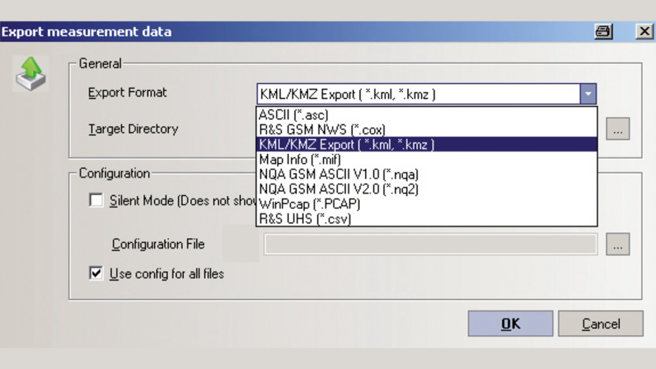 Simple data export with the R&S®ROMES export dialog.
