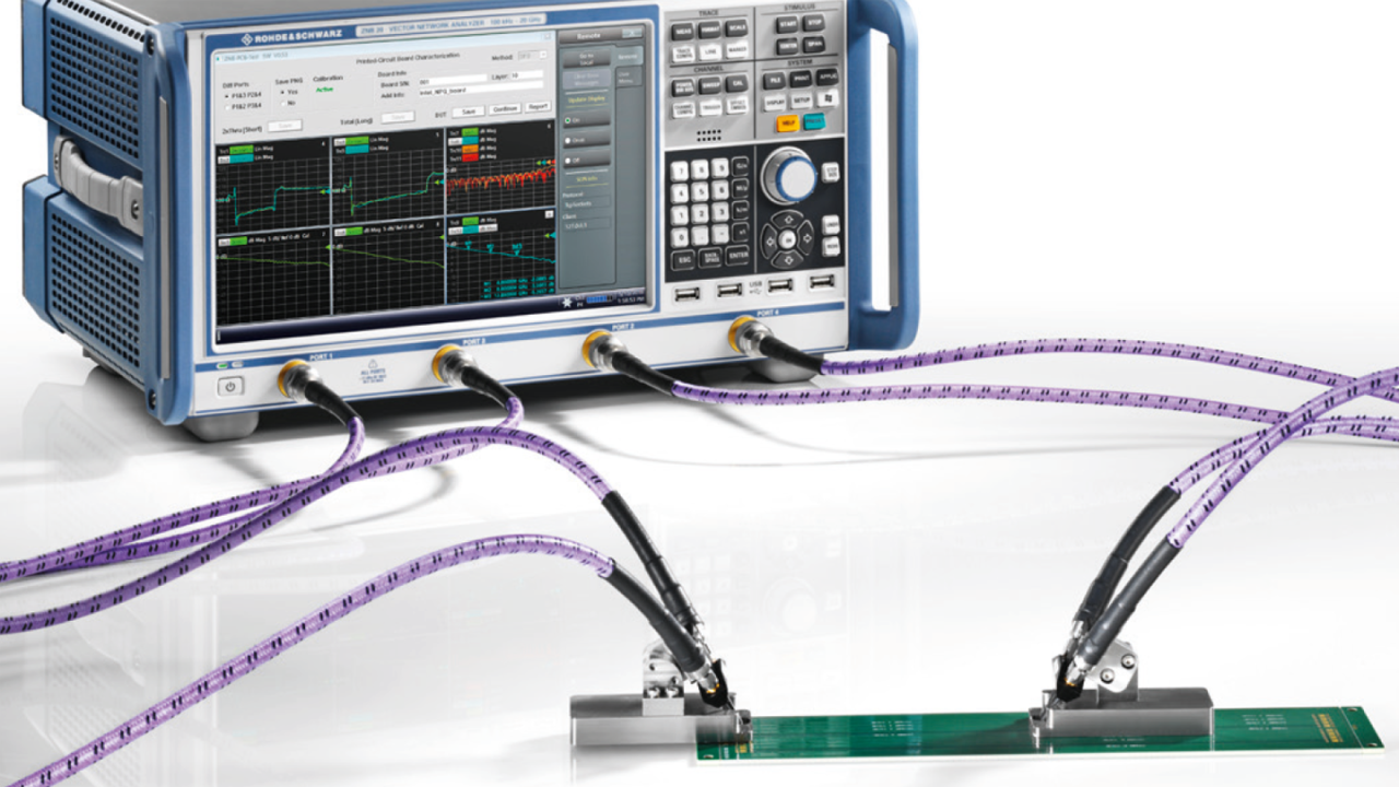 ZNB20 setup to verify the high-speed differential signal lines on a PCB up to 20 GHz
