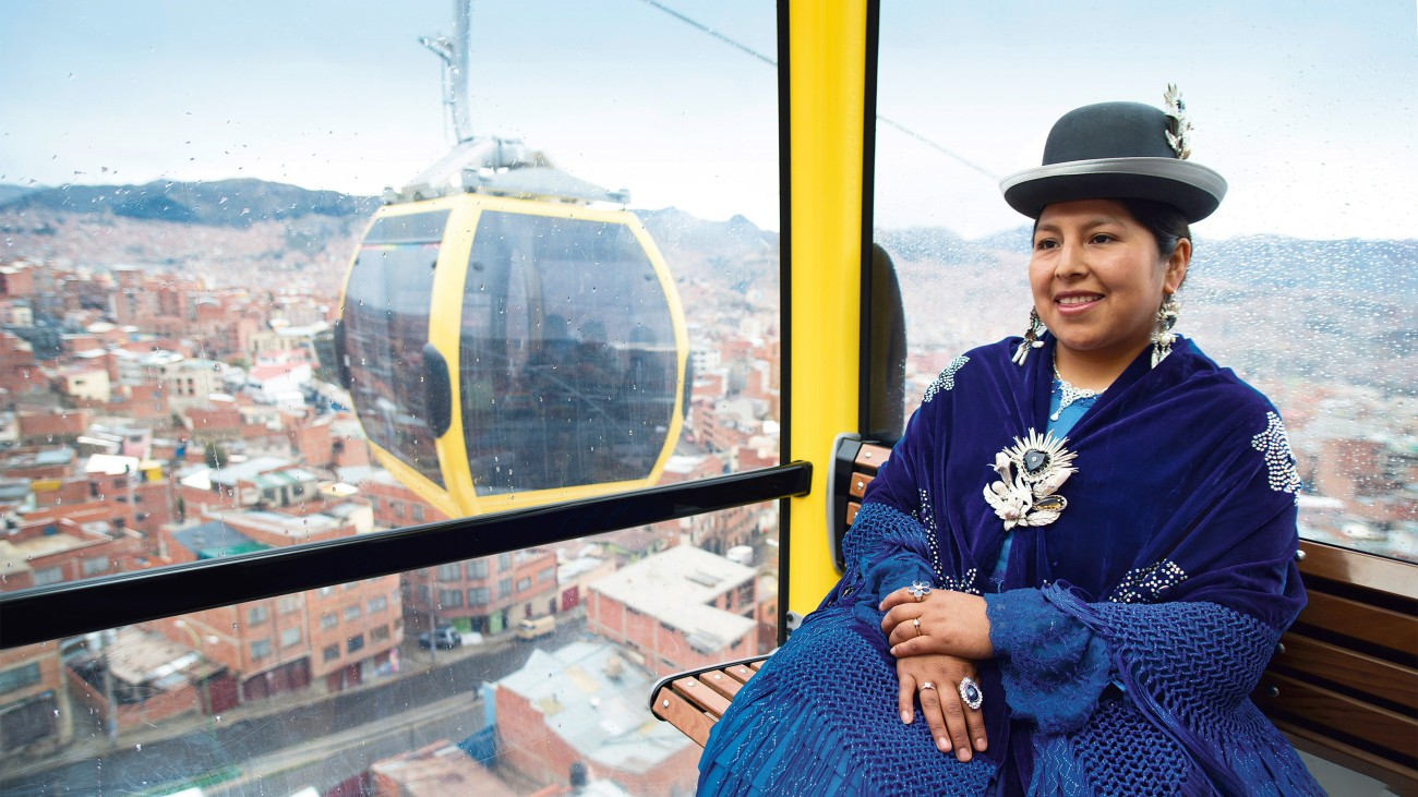 The colorful cabins of Mi Teleférico are a good fit for La Paz's cityscape and culture.