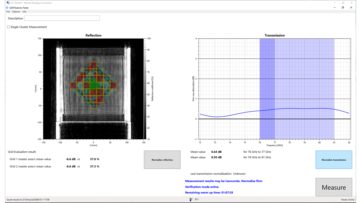 R&S®QAR-K20 grid evaluation of reflection measurement