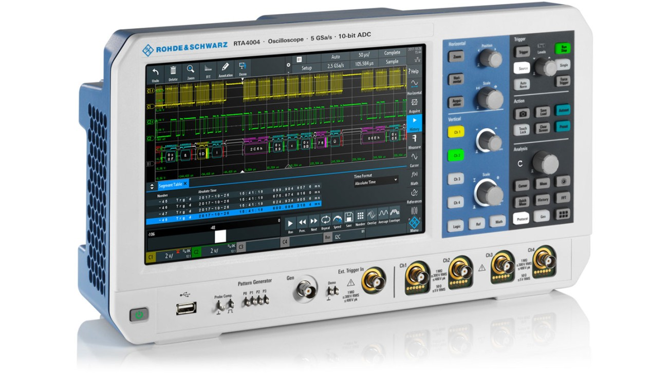 R&S®RTA4000 oscilloscope, side view