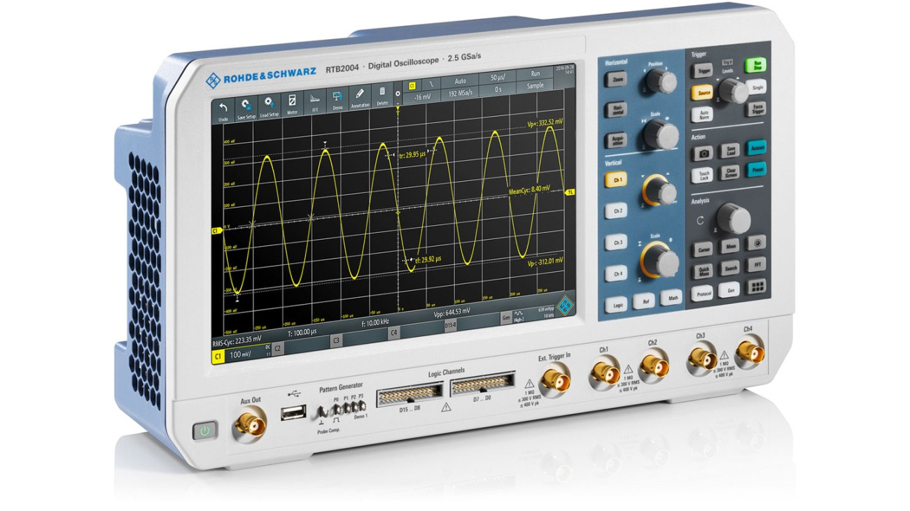 R&S®RTB2000 oscilloscope, side view